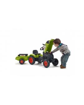 Tracteur à pédales Claas Arion 410 avec remorque