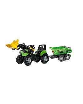 Tractor a pedales Deutz Agrotron 7250 TTV RollyFarmtrac  con pala y remolque Halfpipe